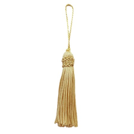 Set of 10 Light Gold Crown Head Chainette Tassel, 3 Inch Long with 2 Inch Loop, Basic Trim Collection Style# CT03 Color: (Chainette Rayon Tassels)