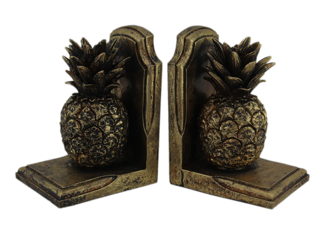 Antique Gold Finish Pineapple Bookends Set of 2 by J.D. Yeatts Imports