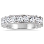 Marquee Jewels  10K White Gold 1ct TDW Engraved Antique Styled Channel Band  (J-K, I2-I3)
