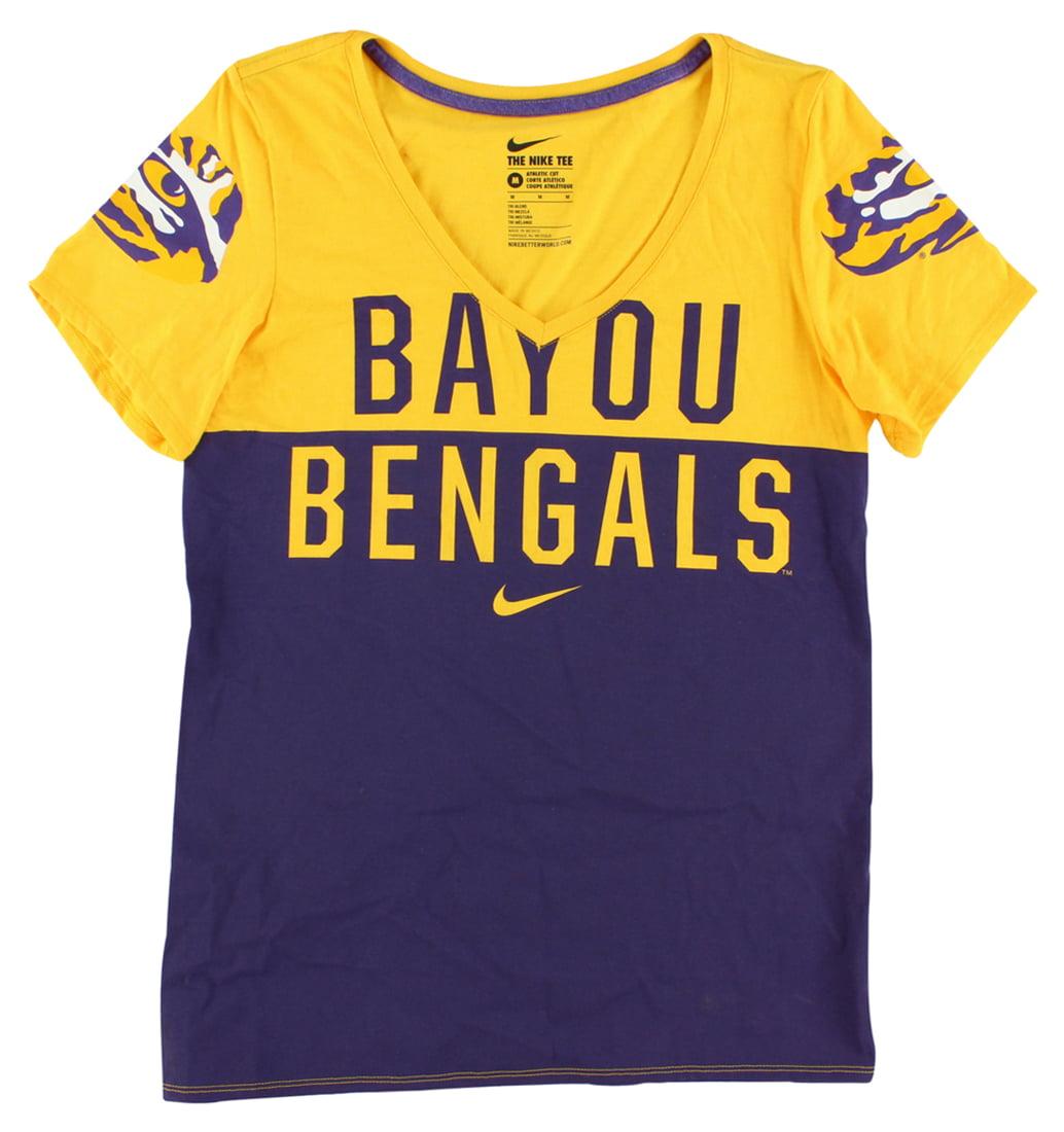 Nike Womens LSU Tigers Long Sleeve Chop Block T Shirt Yellow by
