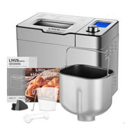 25-in-1 Stainless Steel Bread Maker Machine, 2LB Programmable XL Bread Maker with Fruit Nut Dispenser, Nonstick Ceramic Pan and Shortcut Knob, 3 Loaf Sizes & 3 Crust Colors & 24 Recipe Books