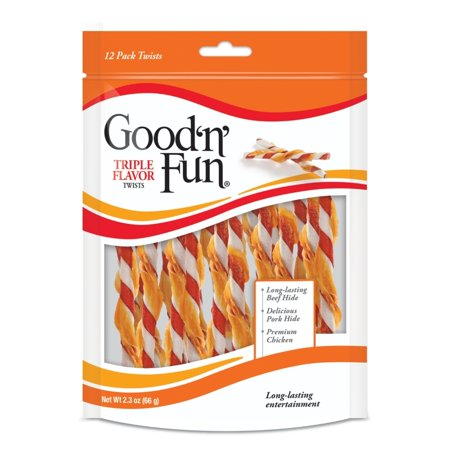 Good'n'Fun Triple Flavor Rawhide Twists for Dogs, 12 Count (2.3