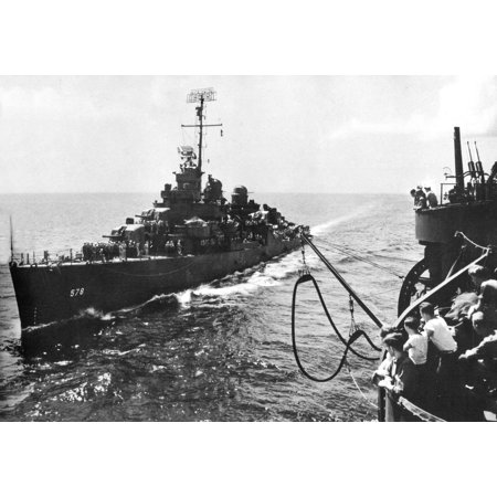 The U.S. Navy destroyer USS Wickes (DD-578) approaching the the light cruiser USS Biloxi (CL-80) for Poster Print 24 x 36