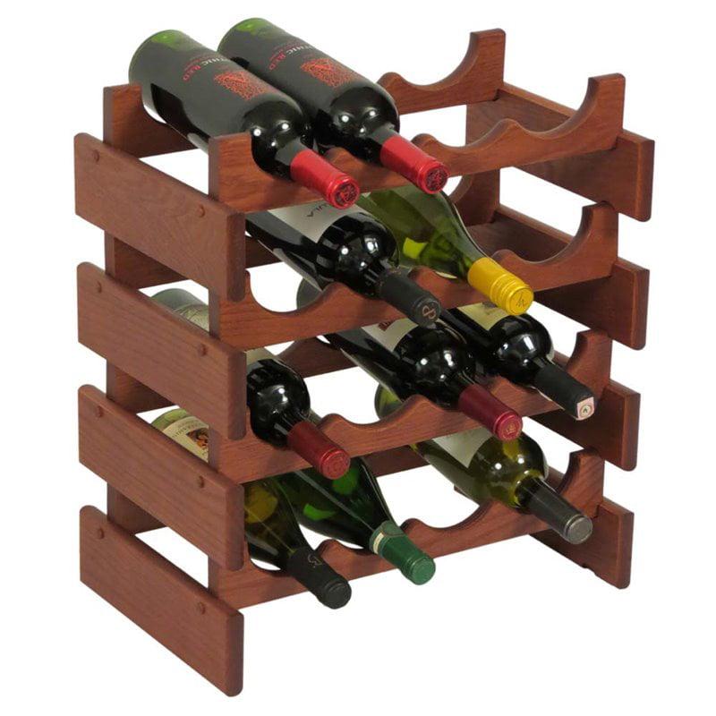 Wooden Mallet Dakota 4 Tier 16 Bottle Wine Rack in Mahogany by Wooden Mallet