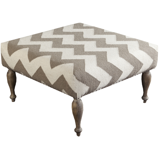 "32"" Winter White and Gray Chevron Upholstered Wool and Wooden Foot Stool Ottoman by Diva At Home"