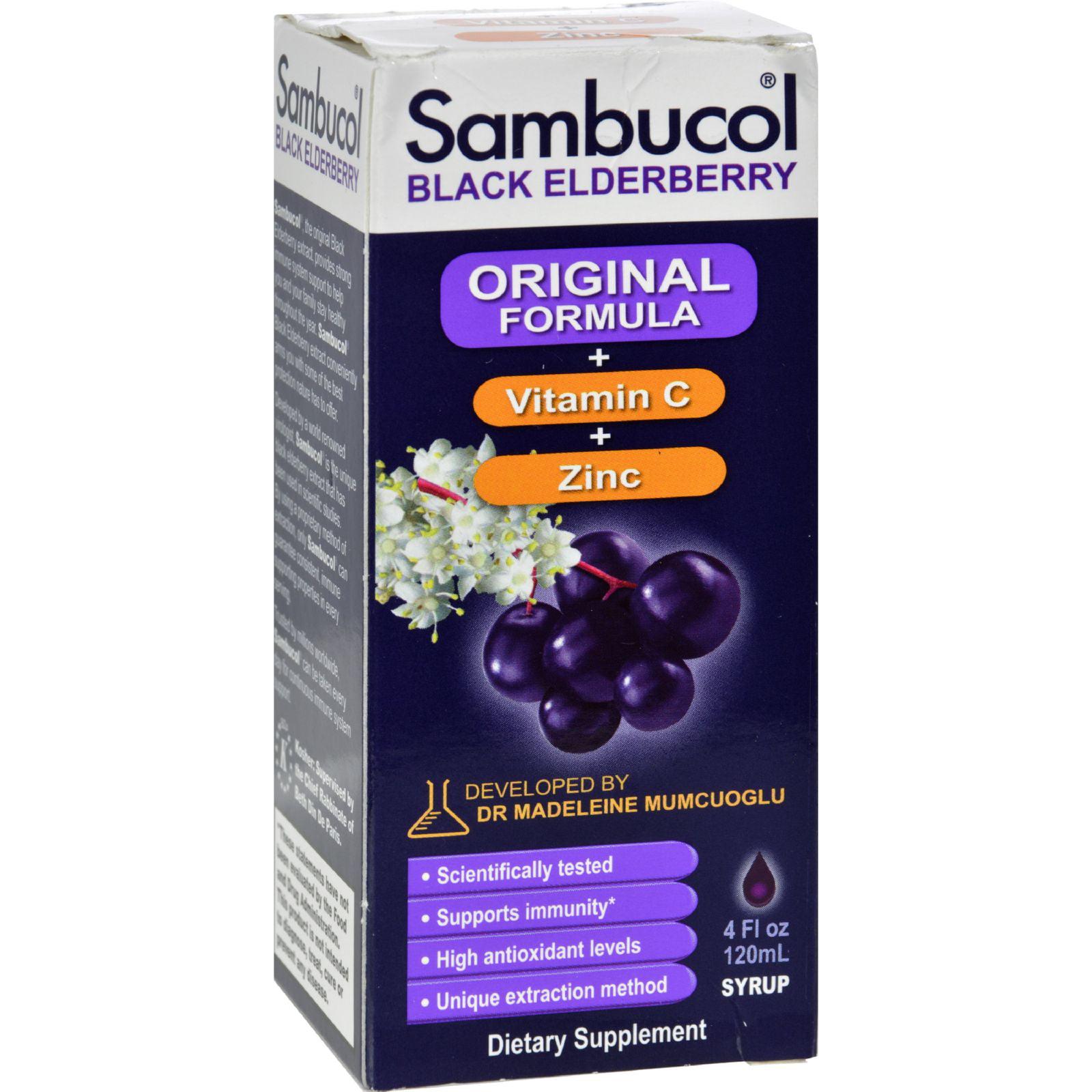 Sambucol Original Formula Vitamin C Zinc Black Elderberry Syrup 4 Fl Oz