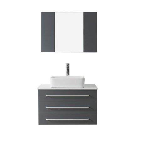 Virtu usa ultra modern series 36 39 39 single bathroom vanity set with white stone top and mirror for Ultra bathroom vanities burbank