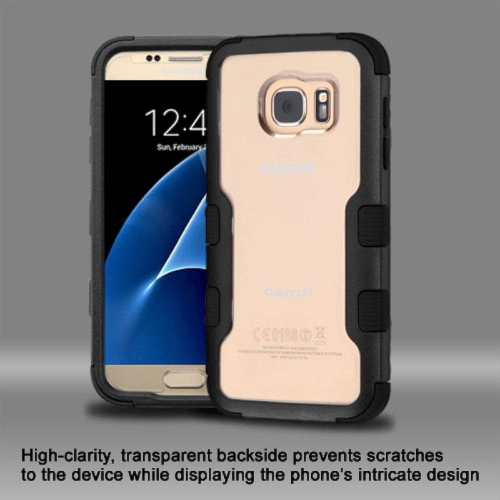 Insten Hard Hybrid Crystal Silicone Cover Case For Samsung Galaxy S7 - Clear/Black