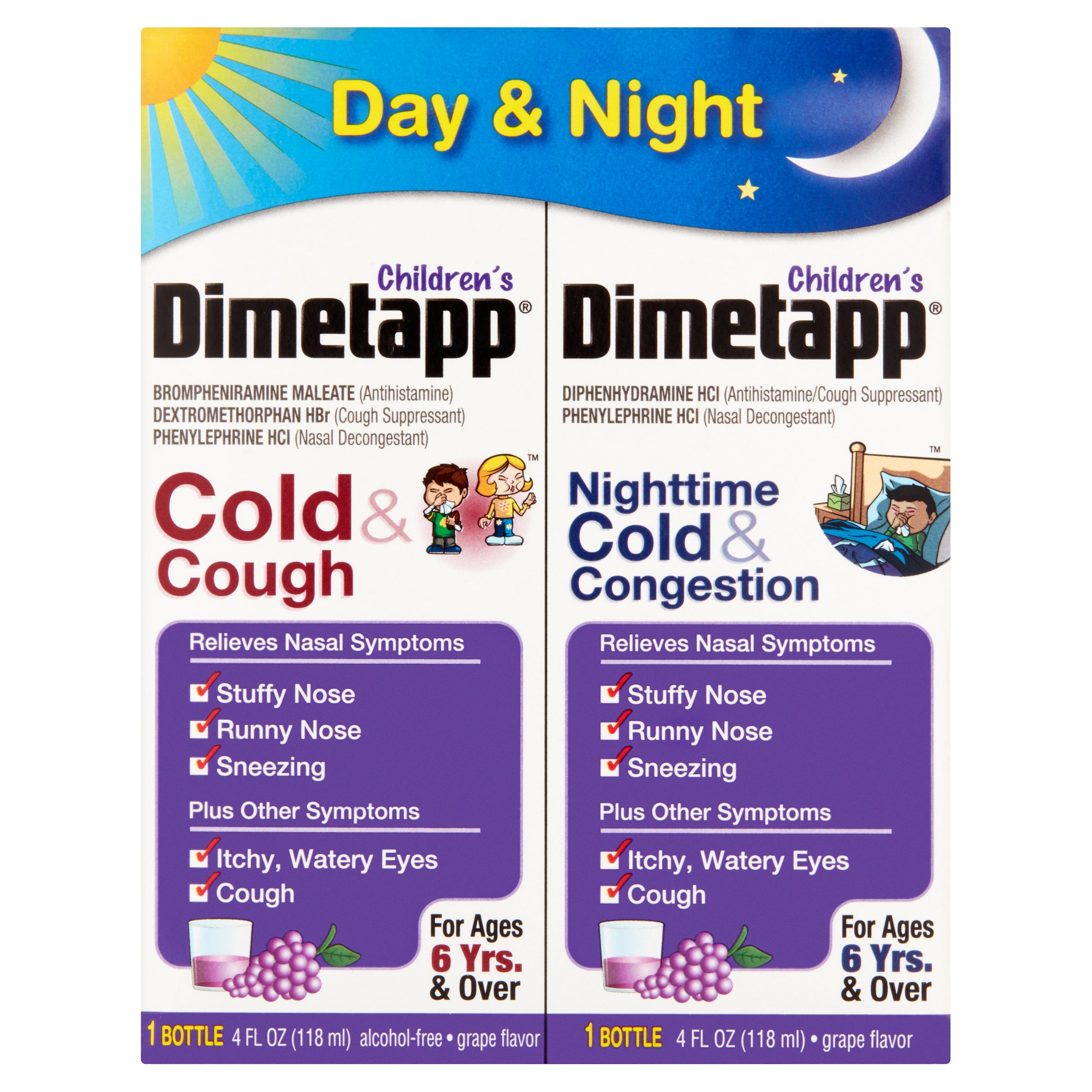 Dimetapp Children's Day (Cold & cough) & Nighttime (Cold & Congestion) Liquid, Grape, 4 Oz, 2 Pk
