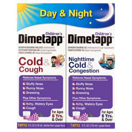 Dimetapp Childrens Day  Cold   Cough    Nighttime  Cold   Congestion  Liquid  Grape  4 Oz  2 Pk