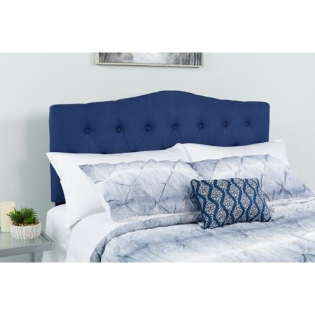 Flash Furniture Cambridge Tufted Upholstered King Size Headboard in Navy Fabric ()