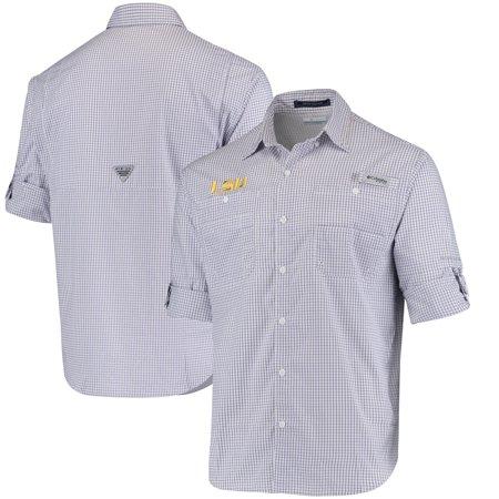 LSU Tigers Columbia Super Tamiami Long Sleeve Button-Down Omni-Shade Shirt - Purple