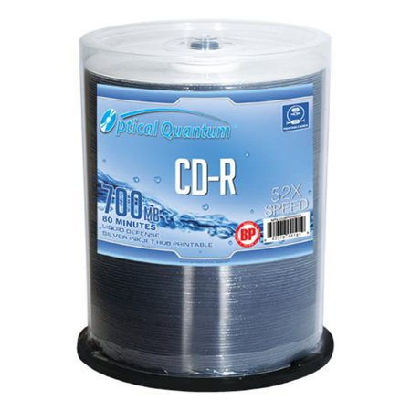 Optical Quantum OQCD52SIP 100 Pack 52x 80 MIN 700 MB CD-R Blank Media Silver Inkjet Printable