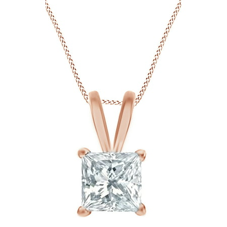 Princess Cut White Natural Diamond Solitaire Pendant Necklace In 14k Rose Gold