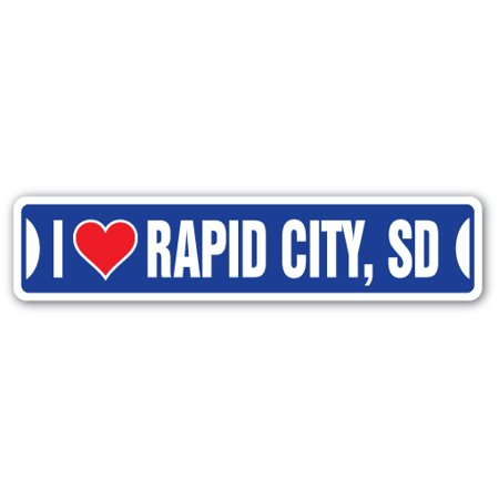 I Love Rapid City  South Dakota Street Sign Sd City State Us Wall Road Gift
