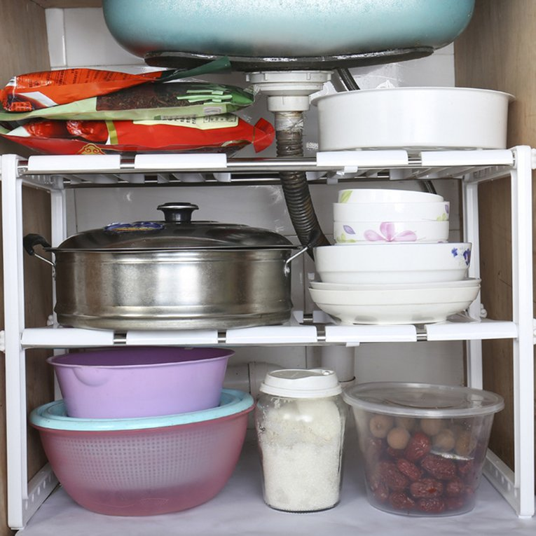 Click here to buy Double Tires Adjustable Under Sink Cabinet Expandable Storage Counter Plant Shelf Kitchen... by Sunrain.