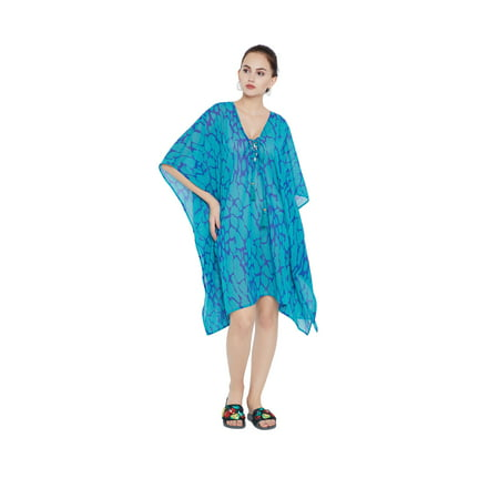 Oussum Turquoise Beach Cover Ups For Women Abstract Print Beach