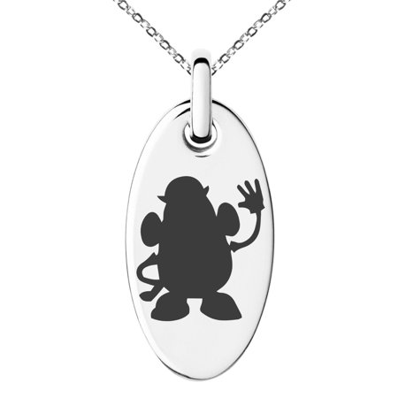 Stainless Steel Disney Toy Story Mr Potato Head Engraved Small Oval Charm Pendant Necklace