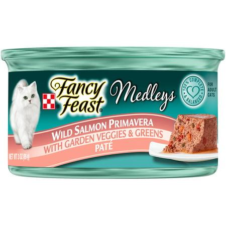 (24 Pack) Fancy Feast Medleys Wild Salmon Primavera Pate Wet Cat Food, 3 oz. Cans
