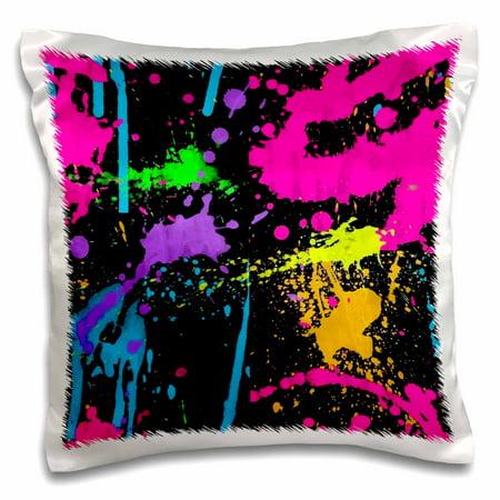 3dRose Print of Neon Paint Splatter On Black - Pillow Case, 16 by 16-inch (Neon Blacklight Paint)