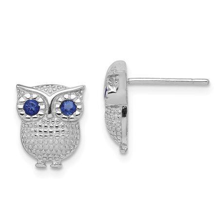 Synthetic Sapphire Earrings - Sterling Silver Rhodium-plated w/Blue Synthetic Sapphire Owl Post Earrings QE11832 (2.39 grams|11MM x 9MM)