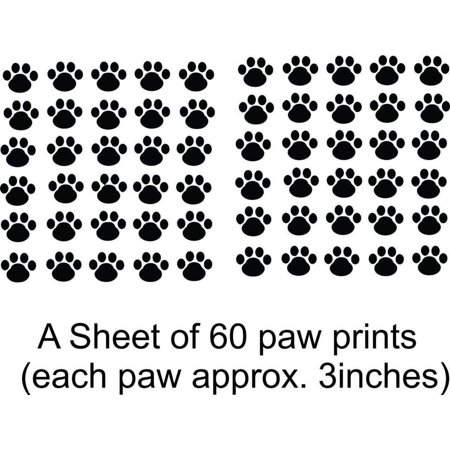 Paw Print Decals (Custom Wall Decal Cat - Dog - 60 Animal Paw Prints Living Room Bedroom - Sticker - 1 Wall)