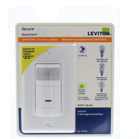 Leviton IPS02 White Relay Occupancy Sensor Single Pole LED/CFL