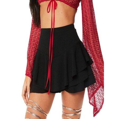 Womens Layered Ruffled Frill Skorts High Waisted Mini Skirt Shorts BK/L