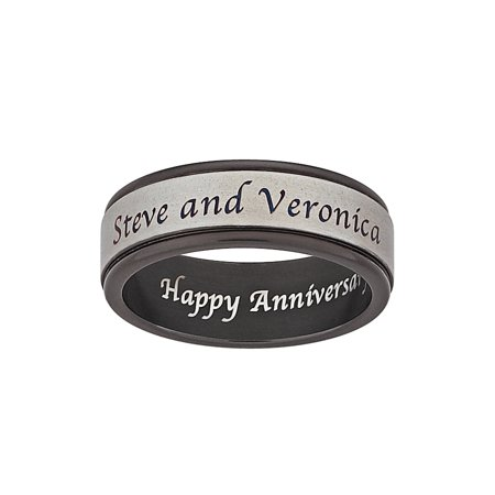 Personalized Titanium Two-Tone Outside/Inside Engraved Message Band