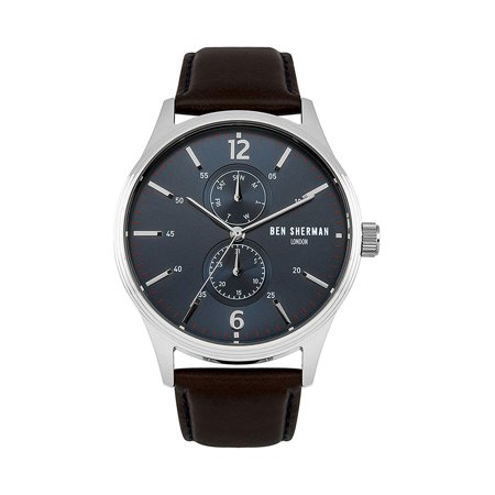 London Spitalfields Steel Brown Leather Mens Watch Day Date WB047UBR ()