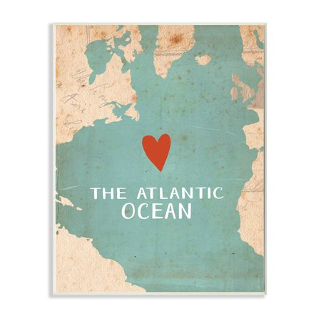 The Stupell Home Decor Collection Heart the Atlantic Map Wall Plaque Art