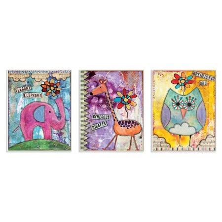 The Stupell Home Decor Collection Elegant Elephant/Generous Giraffe/Optimistic Owl Wall Plaque Set of 3
