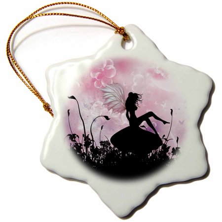 3dRose Fairy sitting on a mushroom a pink black fairy silhouette, Snowflake Ornament, Porcelain, -