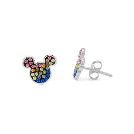 Disney Multi-Crystal Sterling Silver Mickey Mouse Stud Earrings Classic Mickey Mouse Earrings
