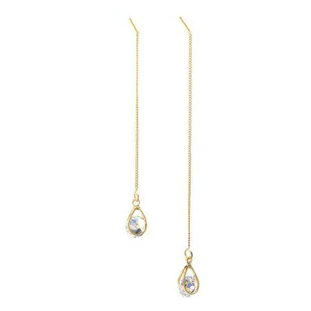 Women's Earrings Zircon Water Drop Modeling Pendant Fringe Symmetric Long Earrings Drop Dangle Chain Earrings (Chain Fringe Earrings)