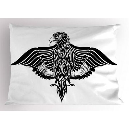 Eagle Pillow Sham Traditional Motif Heraldic Design Inspirations Monotone Medieval Crest Bird, Decorative Standard Size Printed Pillowcase, 26 X 20 Inches, Black and White, by - Medieval Crests
