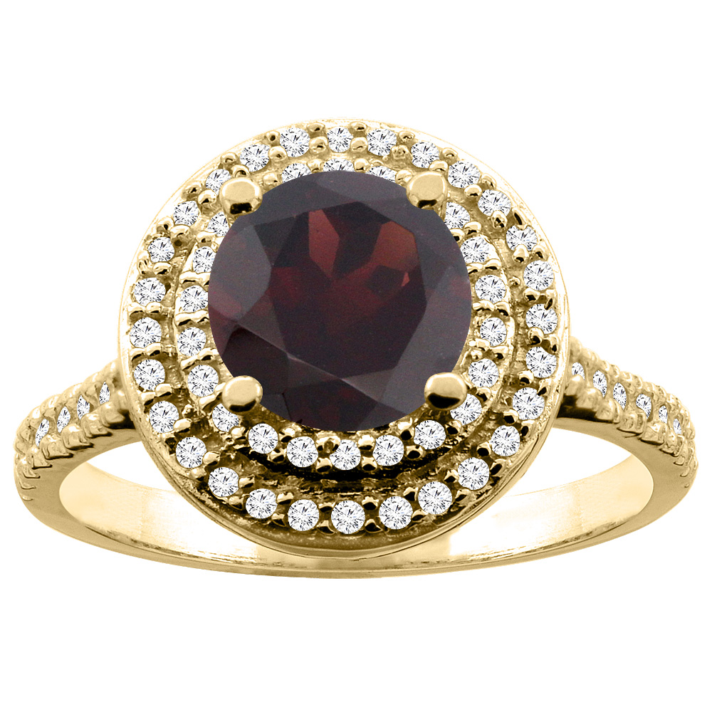 10K White Yellow Gold Natural Garnet Double Halo Ring Round 7mm Diamond Accent, sizes 5 10 by WorldJewels