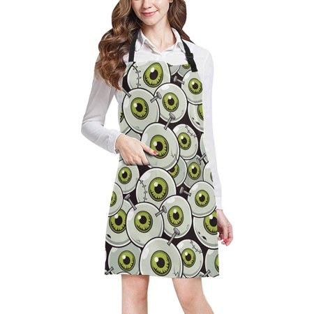 ASHLEIGH Halloween Theme Eyeball Zombie Adjustable Bib Apron with Pockets Commercial Restaurant and Home Kitchen Adjustable Apron