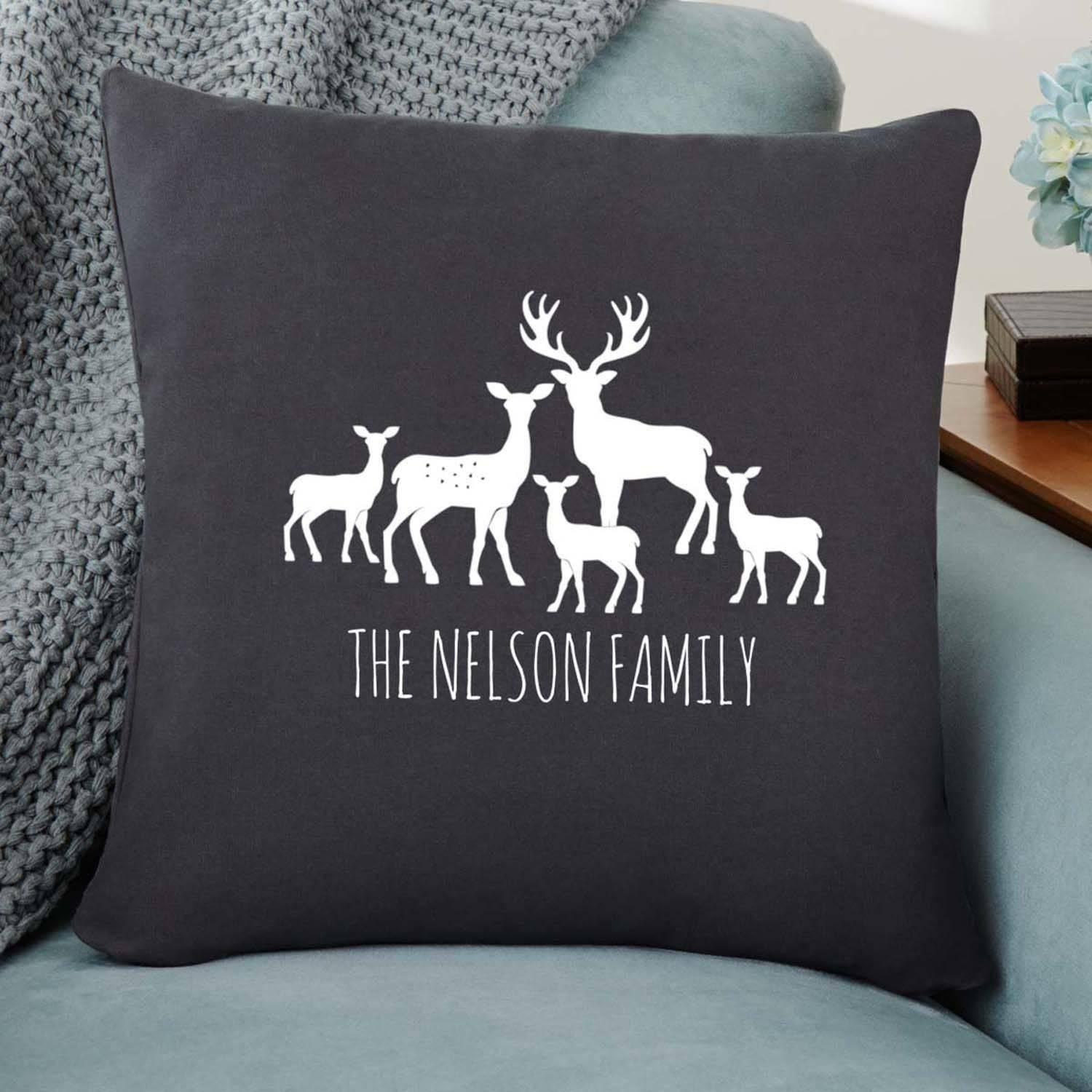 Personalized Deer Family Silhouette Pillow