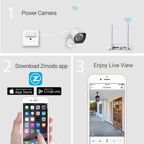 Zmodo 720p HD Outdoor Home Wireless Security Surveillance Video Camera  System (1 Pack), Work with Google Assistant
