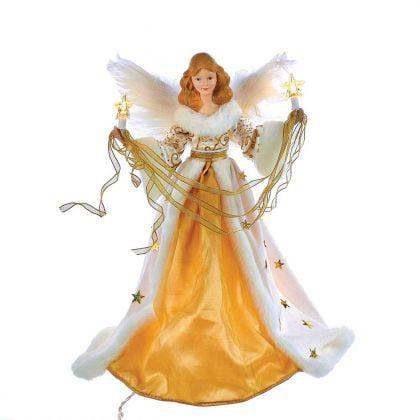 Kurt Adler 10-Light 16-Inch Cream and Gold Angel Treetop
