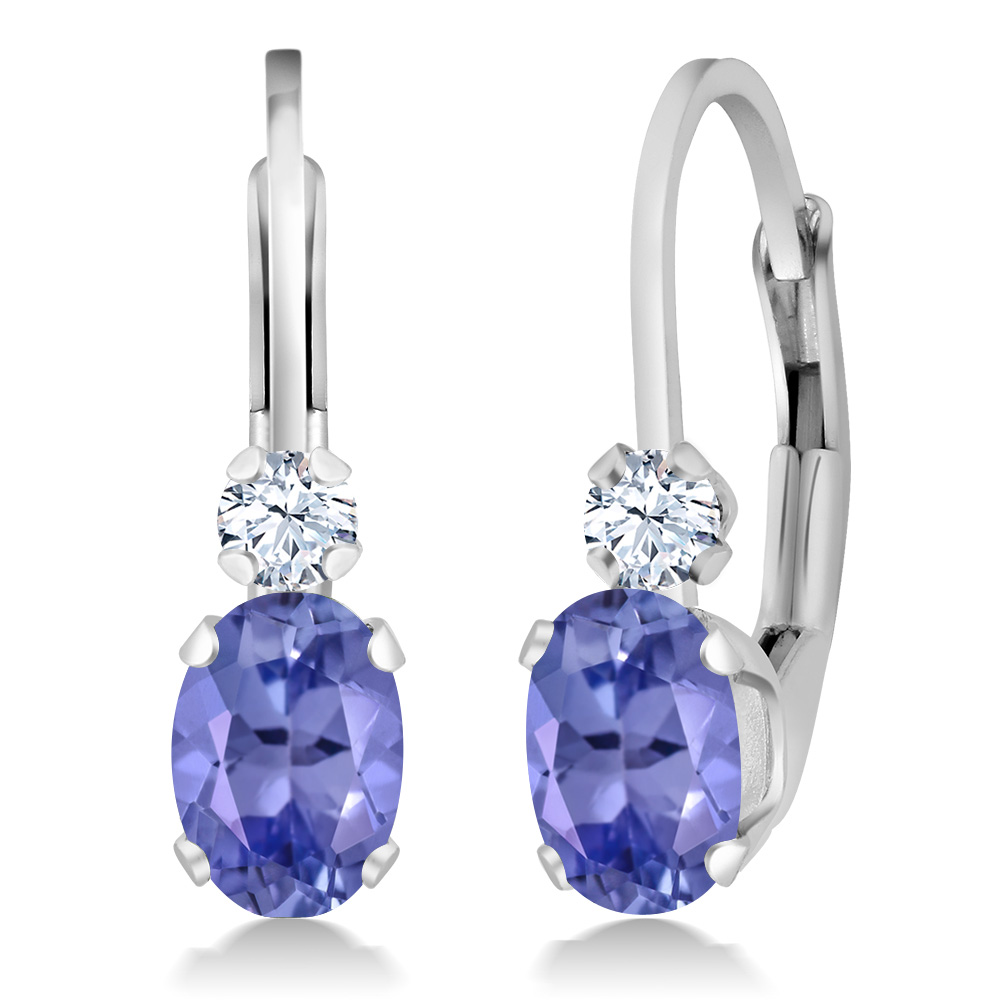 0.98 Ct Oval Blue Tanzanite White Sapphire 925 Sterling Silver Leverback  Earrings