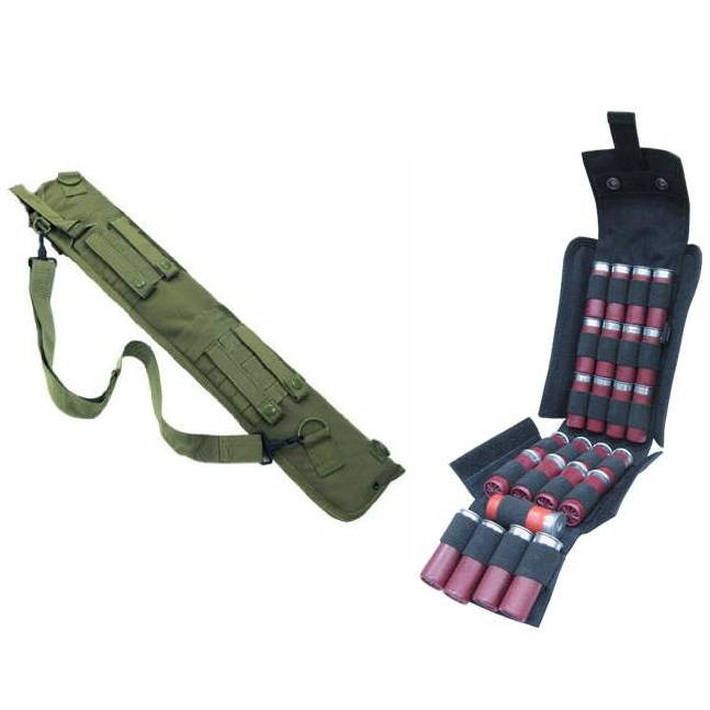 "Ultimate Arms Gear Tactical 29"" OD Olive Drab Green Molle Scabbard For Winchester 1200 / 1300 / Super X SXP X3 12 Gauge Shotgun + Tactical Black Molle 25 Shot Shell Ammo Carrier Pouch"