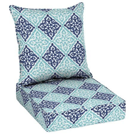 "Better Homes & Gardens Blue Diamond Tile 48""L x 24""W Outdoor Deep Seating Cushion Set"