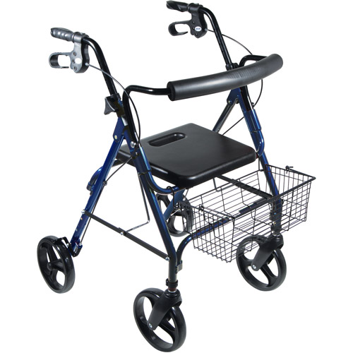 "Drive Medical DLite Lightweight Walker Rollator with 8"" Wheels and Loop Brakes, Blue"