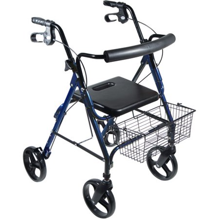 Drive Medical Dlite Lightweight Walker Rollator With 8   Wheels And Loop Brakes  Blue
