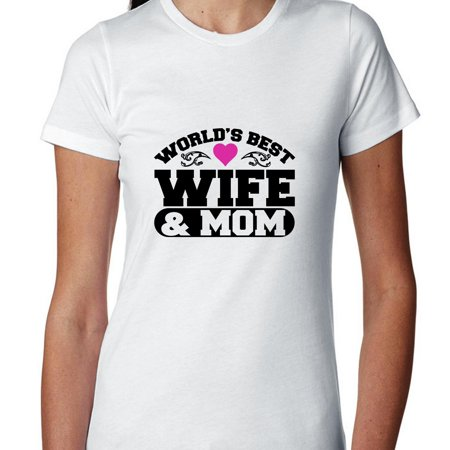 World's Best Wife & Mom - Cute Pink Heart Women's Cotton T-Shirt Mom Pink Heart