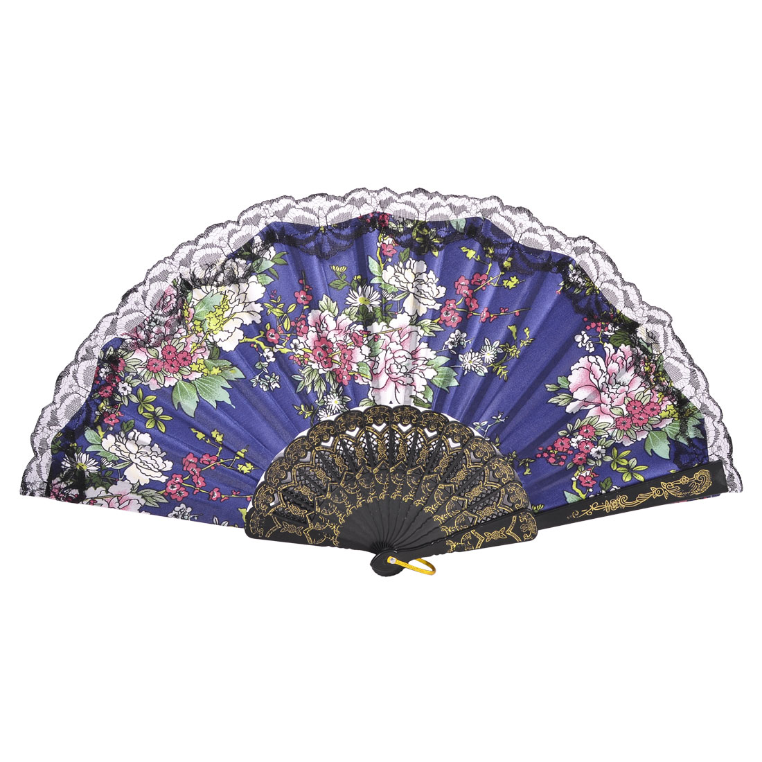Assorted Color Flower Print Blue Fabric Cloth Plastic Frame Folded Shake Fan