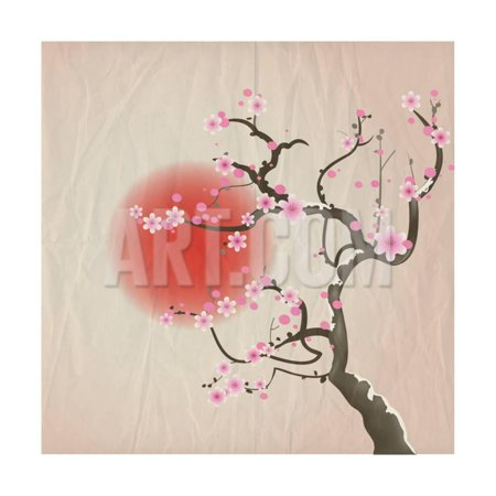 Bough of a Cherry Blossom Tree against Red Sun. Crumpled Paper Vintage Effect. Eps10 Vector Format. Print Wall Art By Jane - Red Cherry Blossom