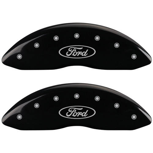 Set of 4 MGP Caliper Covers, 10219Sfrdbk, Engraved Front and Rear: Oval Logo Ford, Black Powder Coat Finish, Silver... by MGP CALIPER COVERS